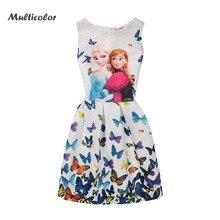 Разноцветное хлопковое платье для девочек с изображением Эльзы и Анны жилет с принтом бабочки Vestido Princesse, платья для маленьких девочек
