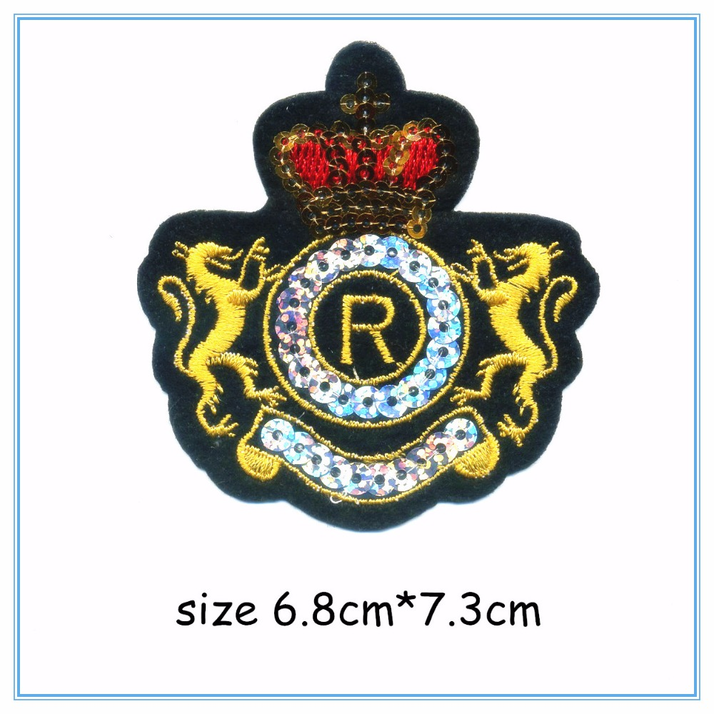 DOUBLEHEE017 2 Lion Crown College Embroidery Patches Iron On Or Sew Fabric Sticker For Clothes Embroidered Appliques DIY