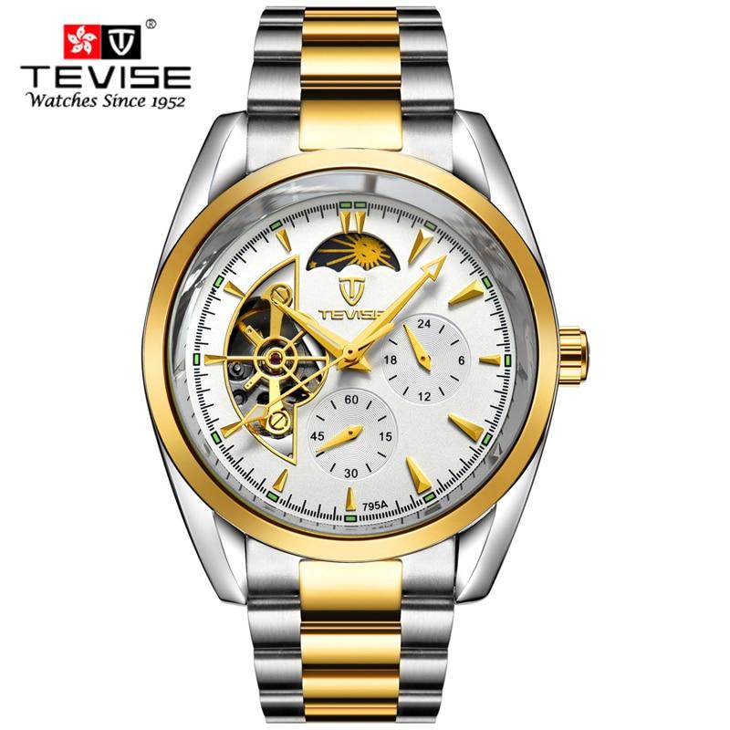 Horloges Heren Luxe Topmerk TEVISE Nieuwe Mode Heren Maanfase Tourbillon mechanisch horloge Herenhorloge masculino relojes
