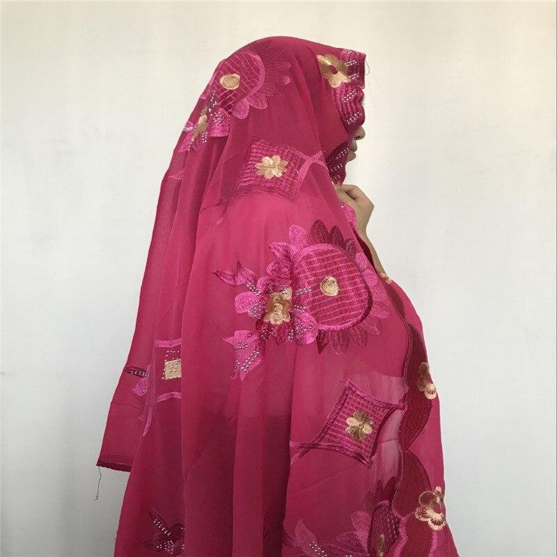 2018 красивый большой цветок в африканском стиле мусульманская вышивка Для женщин шарф для шали Wrpas пашмины, Fachsia Популярные Дизайн шарф