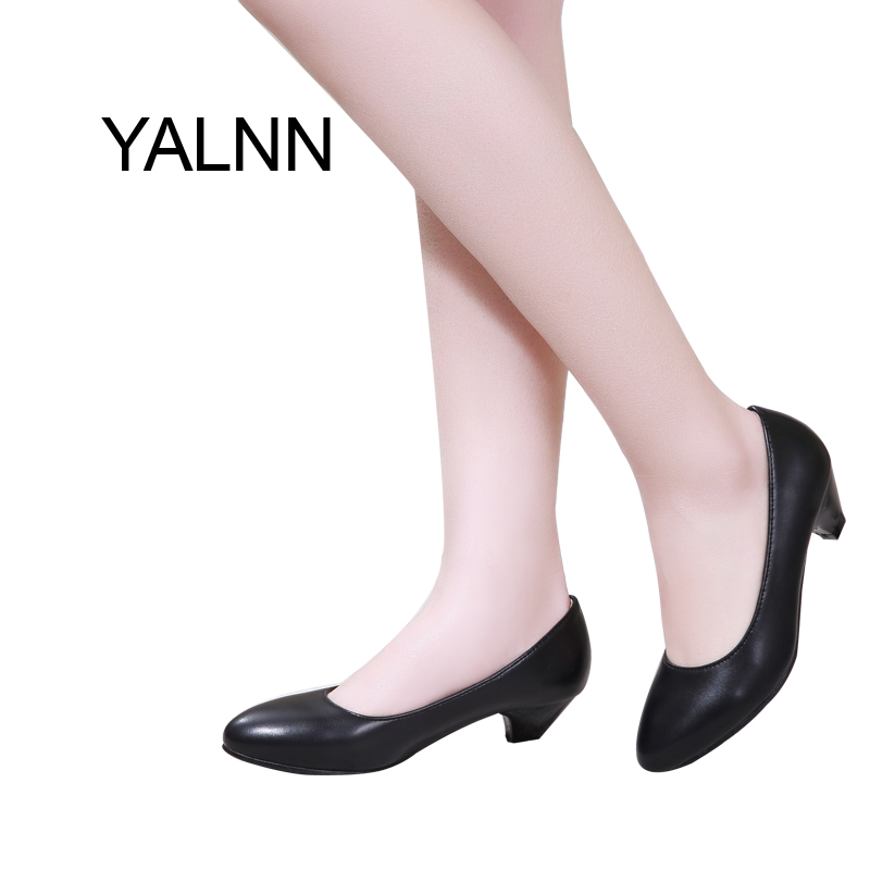 YALNN Spring Slip-on Basic Women Pumps Shoes 3CM Low Thin Heels Pointed Toe for Mature Office Career Shoes Women egonery spring air slip on round toe square low heels office women shoes pumps woman shoe plus size 40 43