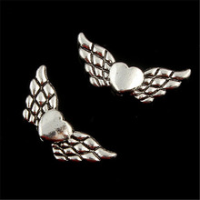 20pcs Tibetan Silver Plated double sided angel wings Charms Pendants for Jewelry Making DIY Handmade Craft 26*5mm