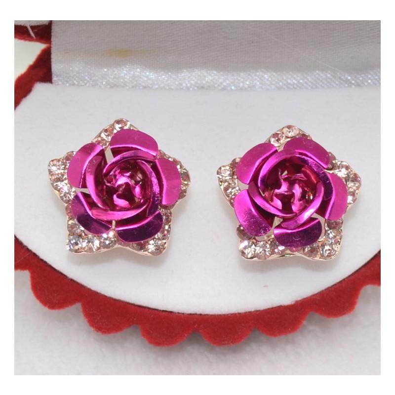 Rose Plate Crystal Flower Grape Stud Earrings for Women   1