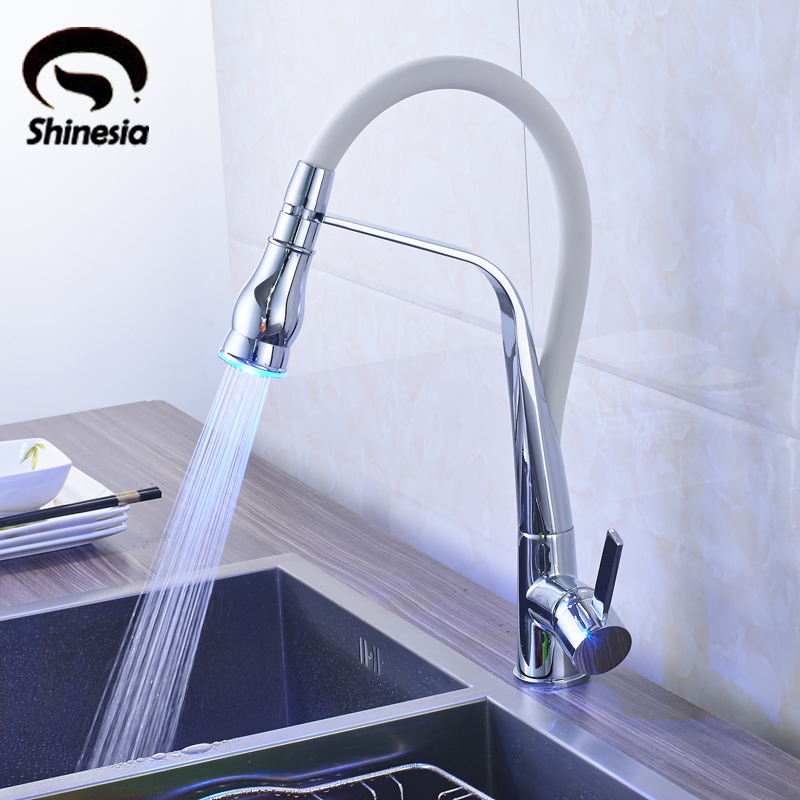 Chrome LED Light Solid Brass Vessel Sink Mixer Tap Kitchen Faucet Single Handle Hole Deck Mounted newly contemporary solid brass chrome finish arc spout kitchen vessel sink faucet thermostatic faucet mixer tap deck mounted