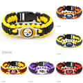 (10 PCS/lot)Football Team Paracord Survival Bracelet San Diego Atlanta Falcons Baltimore Washington Pittsburgh Denver Broncos .