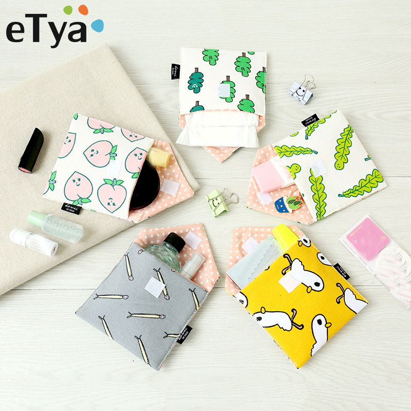 eTya Cute Cartoon Coin Purse Small Wallet Women Change Bag Credit Card ID Holder Clutch Purse Female Sanitary Towel Storage Case etya new women purses cute zipper small flower bag female girl headset line coin purse card bag clutch wallet key bags wholesale