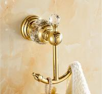 European Style Luxury Crystal Brass Gold Robe Hook Bathroom Hangings Gold Towel Rack Clothes Hook Home Decoration Bathroom