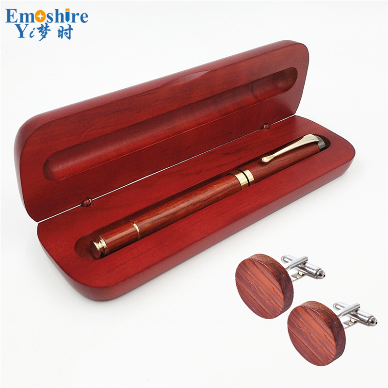 Promotion Business Gifts Set for Man Vintage Collection Retro Fountain Pens with Wooden Cufflinks Pen Box OEM Wooden Pen PC017 emoshire wedding gift sets for man business collections chinese pen set with cufflinks wooden fountain pen and box pc009