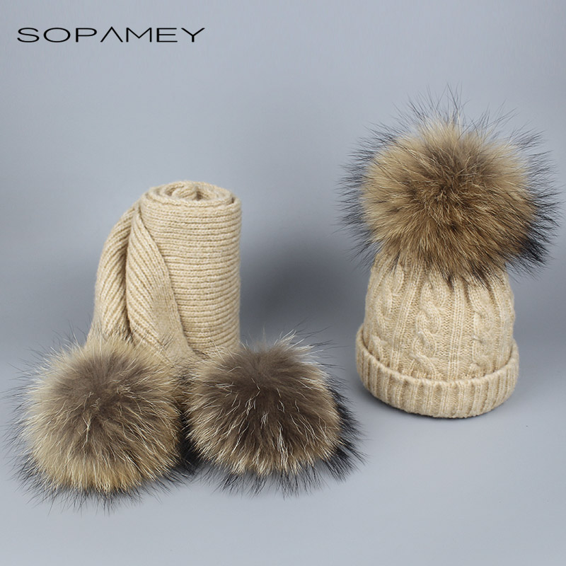 где купить  Winter Scarf Hat Sets Children Warm Thick Stretchy Knit Beanie Hat Real reaccoon fur pom pom beanie Skullies for boys and girls  по лучшей цене