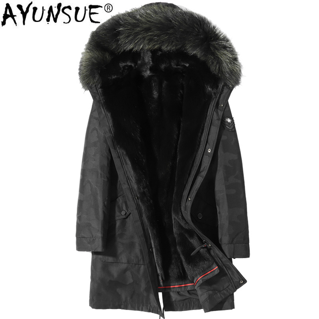 Best Offers AYUNSUE Winter Jacket Men Raccoon Fur Collar Coat Real Wolf Fur Liner Coats Plus Size Parka Veste Homme Hiver Canada Style ZL873