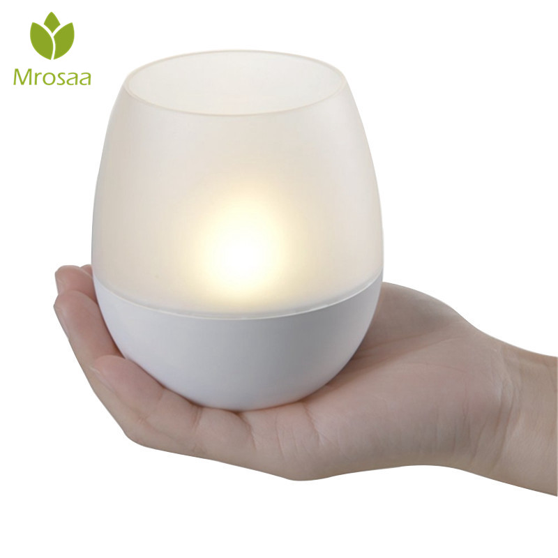 Mrosaa Led Night Lamp Portable USB Rechargeable Dimmable LED Flameless Candle Night Light Blow Sensor Control Tea Lamp Gifts dfl 3x6 inch flameless real wax pillar electronic led candle with timer with embossed gold pearl