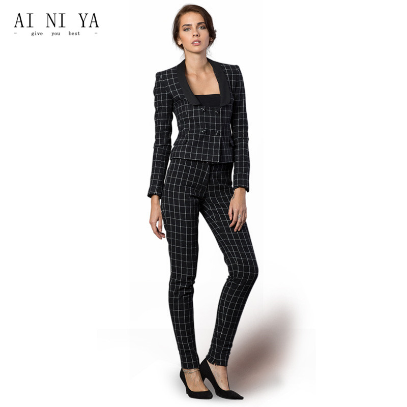 Black and White Plaid Pattern Women Business Suits Formal Office Suits Work Double Breas ...