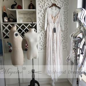 Image 3 - Mryarce מעודן תחרה ארוך שרוול ללא משענת חתונת שמלת 2019 Boho שיק שמלות כלה שמלות הכלה robe de mariage