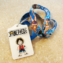 New Arrival 1pcs Cartoon One Piece Staff ID Card Case Holder Lanyards ID Work Badge Holder with Printed Neck Lanyard