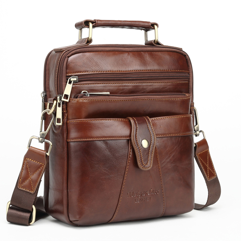 MEIGARDASS Genuine Leather Messenger bags for men Shoulder Bag Business Briefcase Crossbody Bag Male Totes Purse iPad Handbags