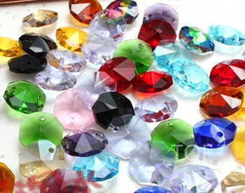 500Pcs AAA Assorted Color 14mm Glass Crystal Octagon Beads With 2 Holes