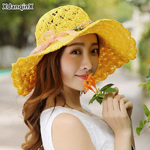XdanqinX Foldable Women's Straw Hat Oversized Visor Sun Hat Fashion Breathable Beach Hat For Women Headwear Decorated Female Cap
