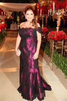 2019 Purple Mother of the Bride Dresses vestido de madrinha Short Sleeves Formal Godmother Evening Weddings Party Guests Gown