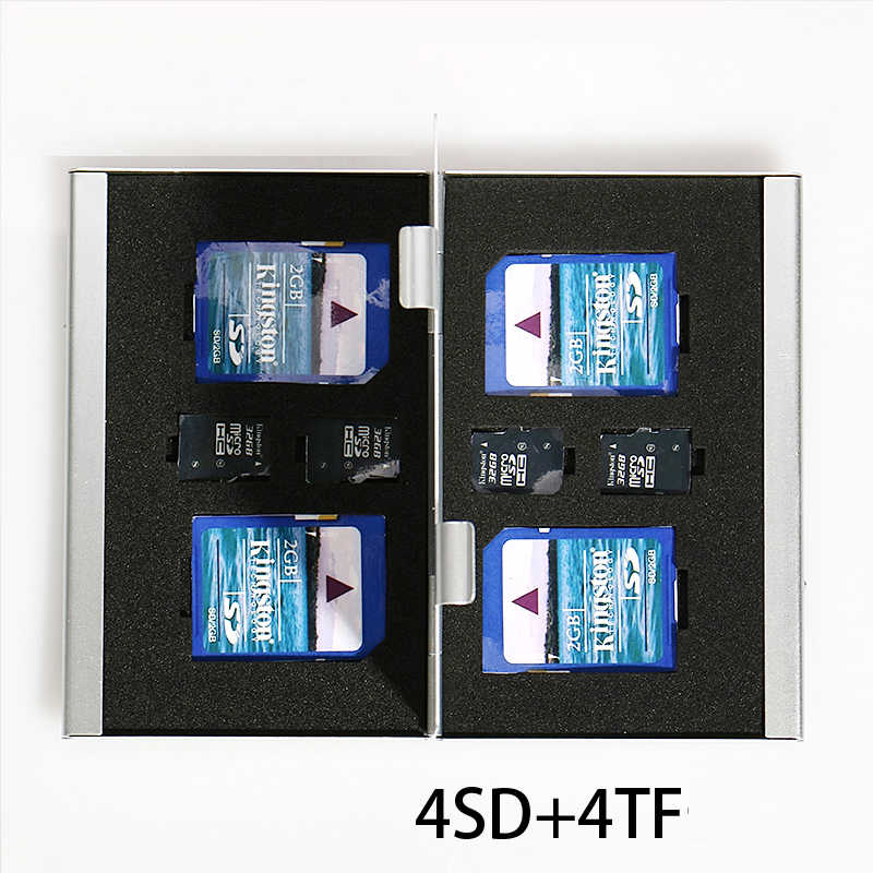 8 in 1 Aluminum Storage Box Bag Memory Card Case Holder Wallet Large Capacity For 4* SD Card 4*Mirco SD