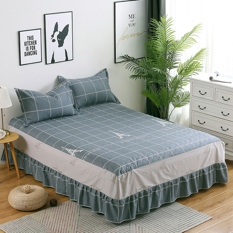 100% Katoen Bedskirt Grijs Plaid Sprei Twin Volledige Queen King Size Bed Rok Matras Beschermende Case/cover 48*74 Cm Kussensloop