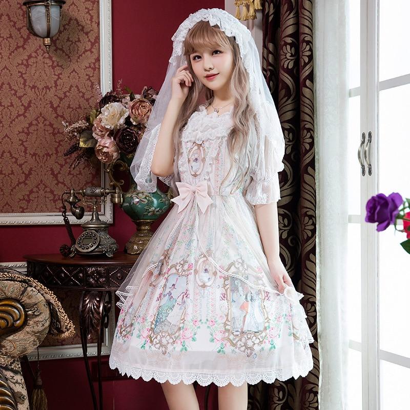 PYJTRL 2018 Summer Sweet Lolita Vintage Casual Straps Lace Dress Elegant Temperament JSK Female Dresses Clothes For Women