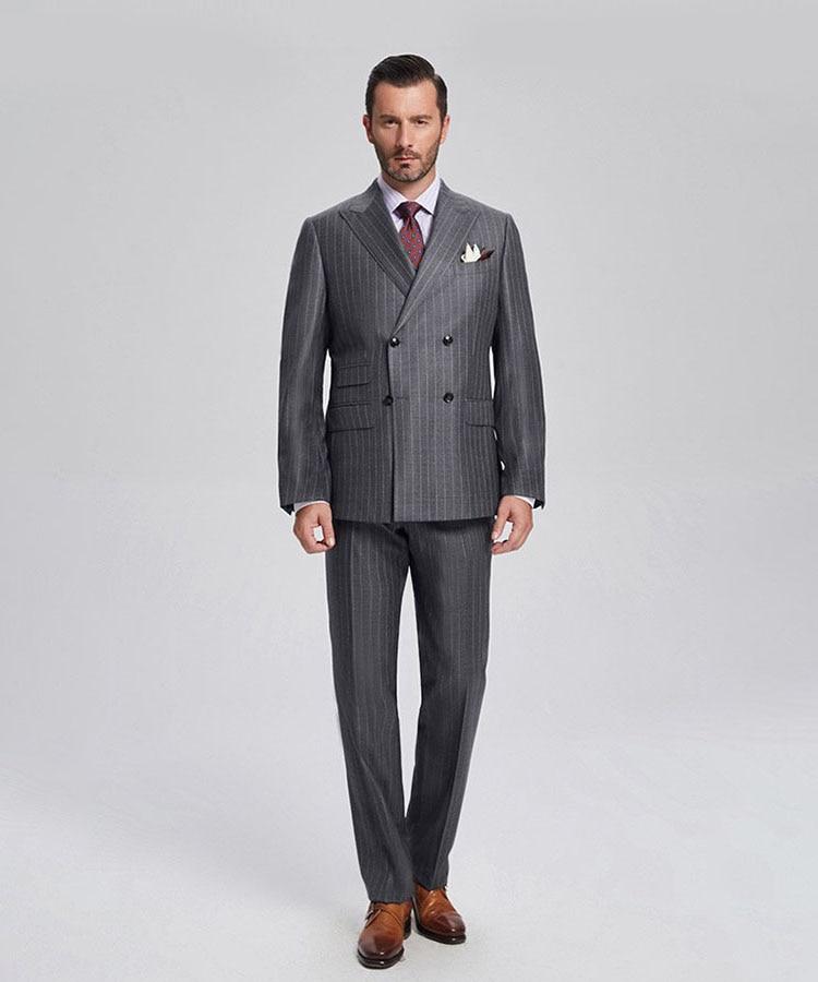 Padrino novio esmoquin gris con rayas hombres trajes pico solapa mejor hombre 2 piezas boda Blazer (chaqueta + Pantalones + corbata) c559