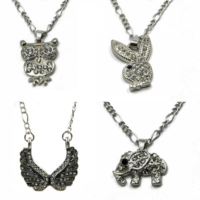 Showlove-1ピースcz宝石フクロウ&ウサギ&ウイング&象の形のペンダント24インチ長さチェーンファッションジュエリー