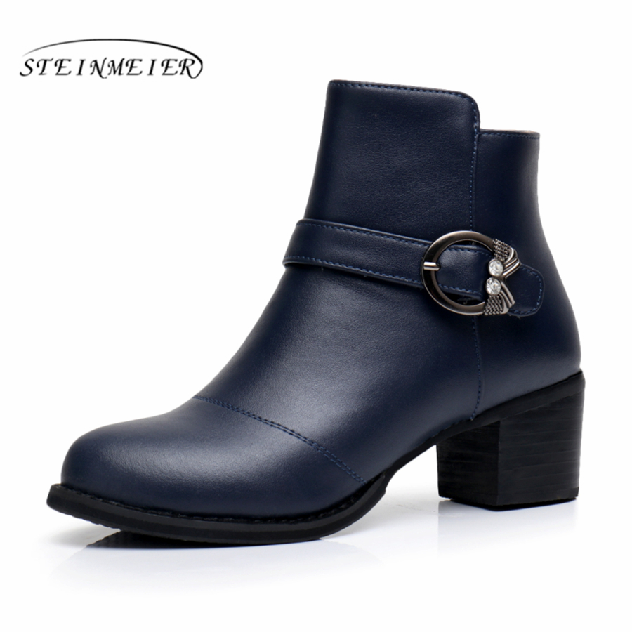 Genuine cow Leather Ankle women winter Boots Comfortable soft Shoes Brand Designer Handmade 2018 winter blue black red with fur
