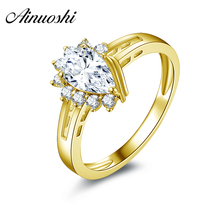 AINUOSHI 10k Solid Yellow Gold Women Wedding Rings Hot Aneis Feminino Fine Jewelry Design 1 ct Pear Cut Wedding Rings for Women