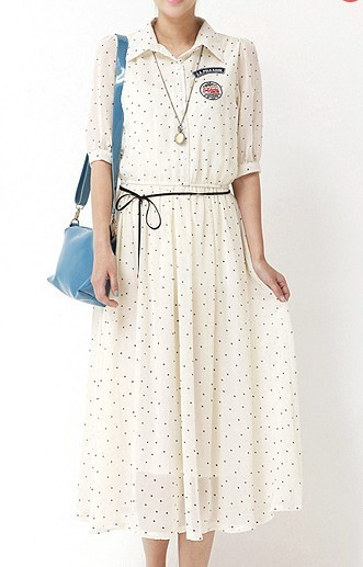 Summer women's 2013 half sleeve shirt dress one-piece dress preppy style vintage full dress chiffon shirt