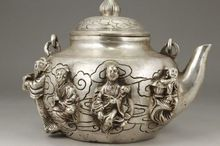 Exquisite Chinese Old White Copper Handmade Eight Immortals (in the legend) Teapot
