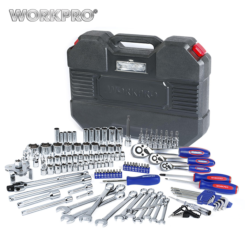 WORKPRO 123PC Tool Set 1/4 & 3/8 & 1/2 Ratchet Wrenches Car Repair Tools Spanner Sockets Bits Set Repair Tool Kits chrome vanadium steel ratchet combination spanner wrench 9mm