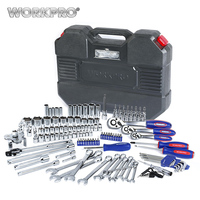 WORKPRO 123PC Tool Set 1/4 & 3/8 & 1/2 Ratchet Wrenches Car Repair Tools Spanner Sockets Bits Set Repair Tool Kits