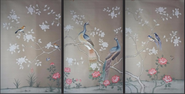 Klassischen Stil Hand Bemalt Doupionseide Tapete Blumen Mit Vögel  Wandverkleidung Papier Viele Bild Und Hintergrund Optional