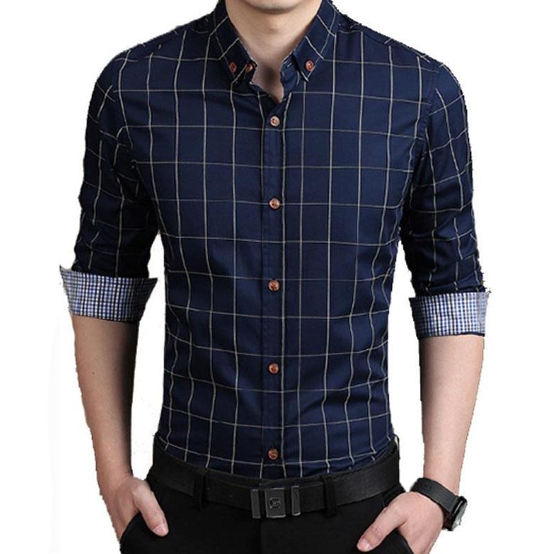 브랜드 2018 남성 패션 남성 셔츠 옷깃 격자 무늬 인쇄 Chemise 큰 크기 옴므 남자 셔츠 여가 Camisa Masculina 6XL SJJC