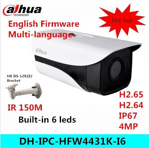 Original Dahua stellar camera 4MP DH-IPC-HFW4431K-I6 Network IP IR Bullet H265 H264 CCTV POE IPC-HFW4431K-I6 with bracket original dahua stellar camera 4mp dh ipc hfw4431k i6 network ip ir bullet h265 h264 sd card slot ipc hfw4431k i6