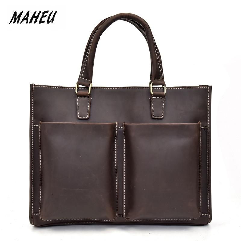 MAHEU Genuine Leather Casual Business Handbag Men Fashion Crazy Horse Men's Macbook Breifcase 15 Inch Shoulder Bag Brown Coffee