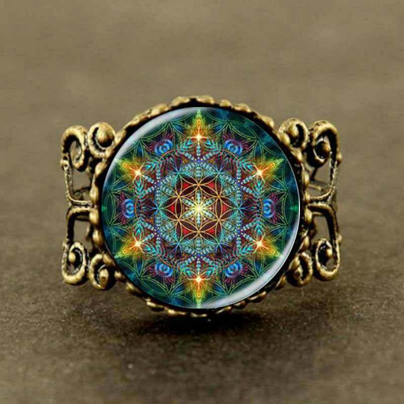 Multicolor Flower of life Jewelry mandala yoga Ring man womens steampunk charm