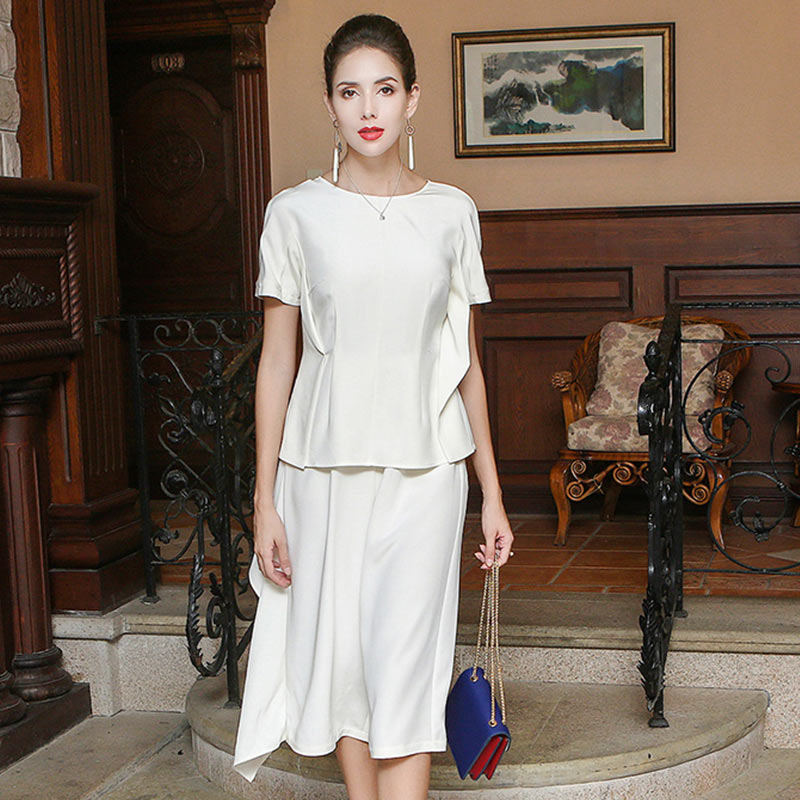 f86c396cbd43 VOA 2017 Autumn Slim Pure White Heavy Silk Fake Two Piece Set Jumpsuit  Fashion Solid Simple Plus Size Women Pants KLX00301-in Rompers from Women s  Clothing ...