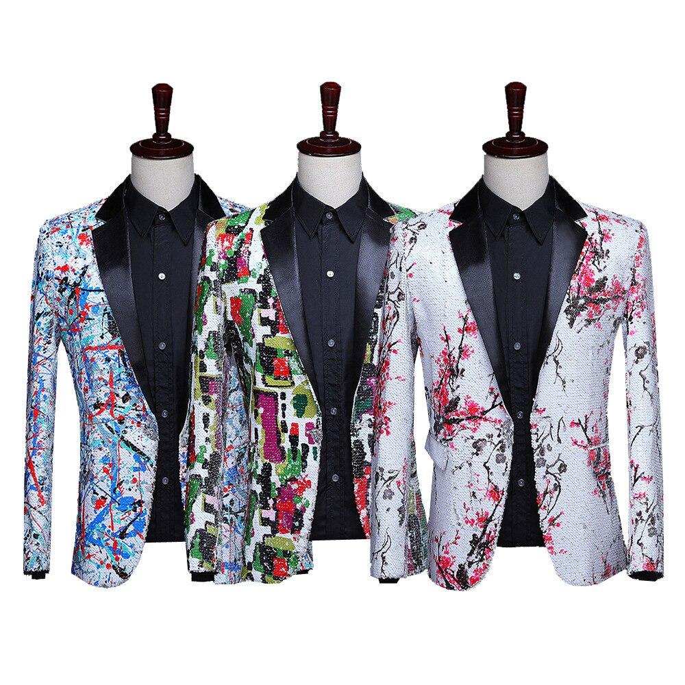 2019 5 Colors Men's Nightclub DJ Performance Party Jacket Blazers Shiny Sequin Flowers Pattern Tuxedo Wedding Groom Costumes