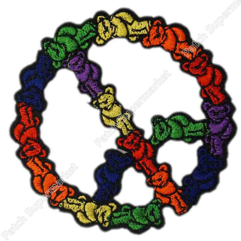 3 GRATEFUL DEAD bears peace sign Logo Music Band Embroidered IRON ON Patch badge for shirt