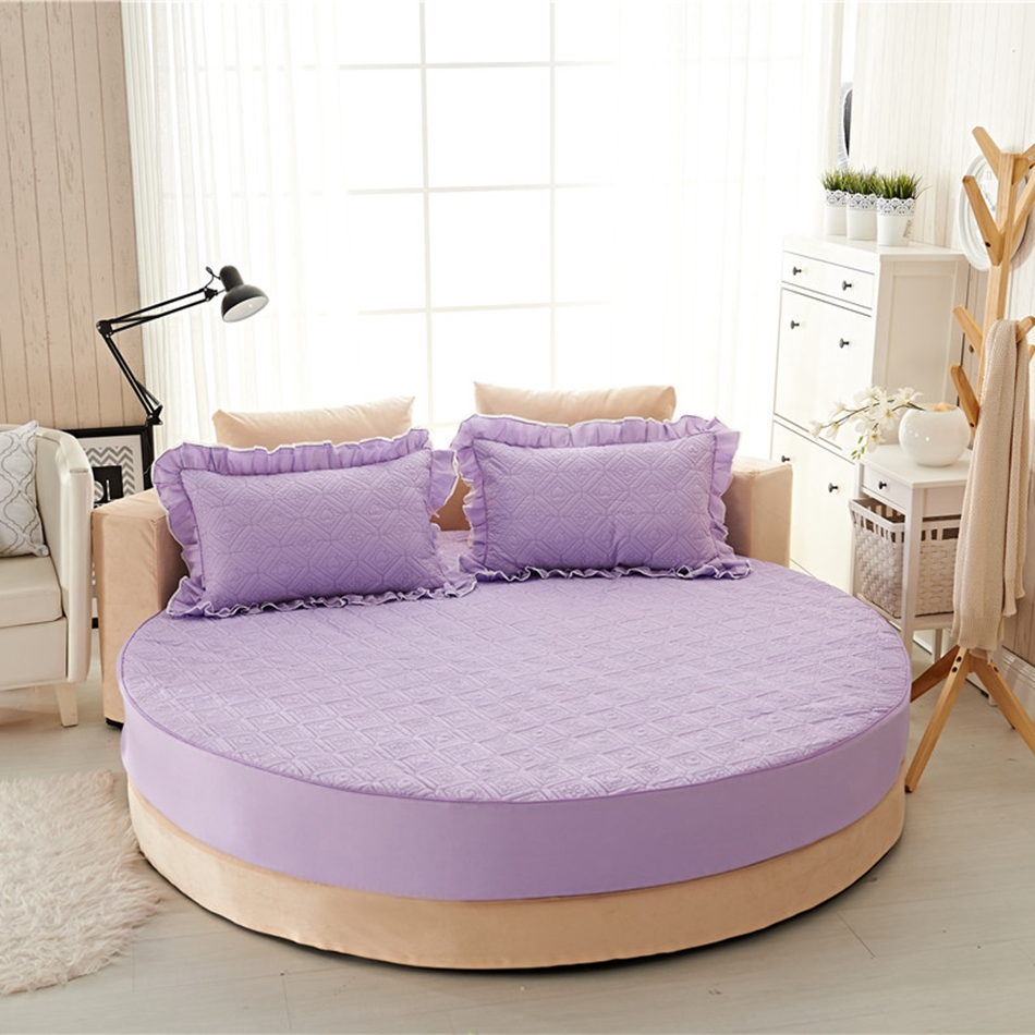 Light Purple Quilted Ed Sheet For Round Bed 100 Cotton Thick With