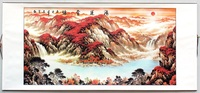 El boyalı pirinç kağıdı Çin suluboya mürekkep şanslı kırmızı Dağ ağacı bulut peyzaj feng shui resimleri kaydırma çerçeveli boyama