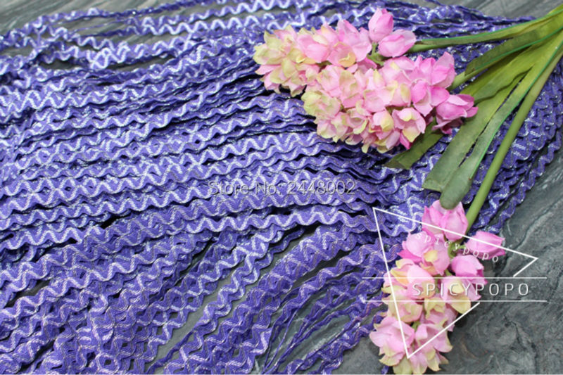 Spicypopo zig-zag 50 yards 5MM Rick Rack/ RIC RAC Sewing Craft narrow zigzag trimming clothing curtains purple silver