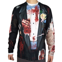 Scary Zombie Groom Costume for Adult Men Horror Bloody Halloween Costumes Unique T Shirt Plus Size