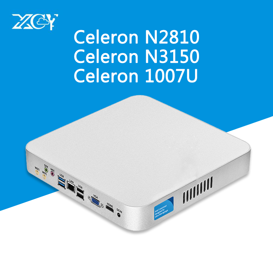 XCY Mini PC Windows 10 Intel Celeron N3150 J1900 Pentium 2117U HTPC HDMI WiFI usb Thin