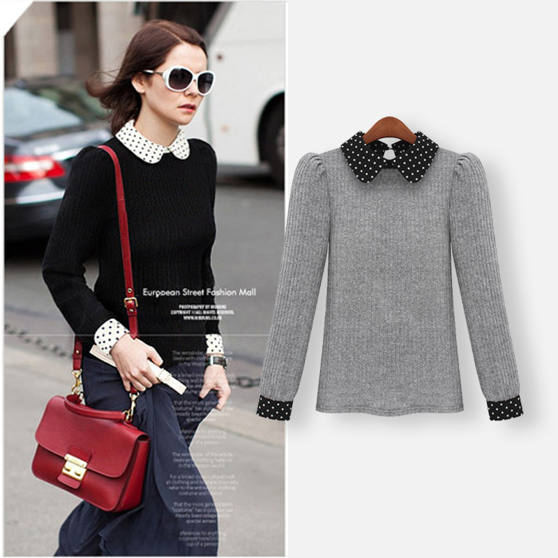 2017 Autumn Winter Women Sweater New European Style Fashion Personality Slim Pullover Long-sleeve Patchwork Sweaters