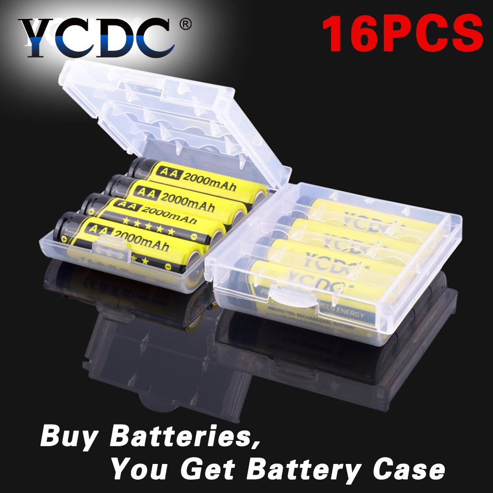 Cheap 16PCS/lot AA Ni-mh Rechargeable Battery 1.2V Large Capacity+Durable 2000mAh Rechargeable Battery For Digital Devices