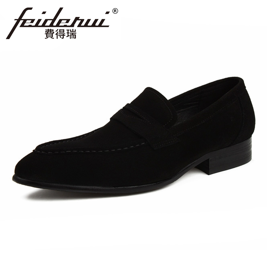 New Arrival Cow Suede Leather Men's Formal Dress Loafers Comfortable Slip on Handmade Man Office Party Casual Shoes YMX346 cyabmoz 2017 flats new arrival brand casual shoes men genuine leather loafers shoes comfortable handmade moccasins shoes oxfords