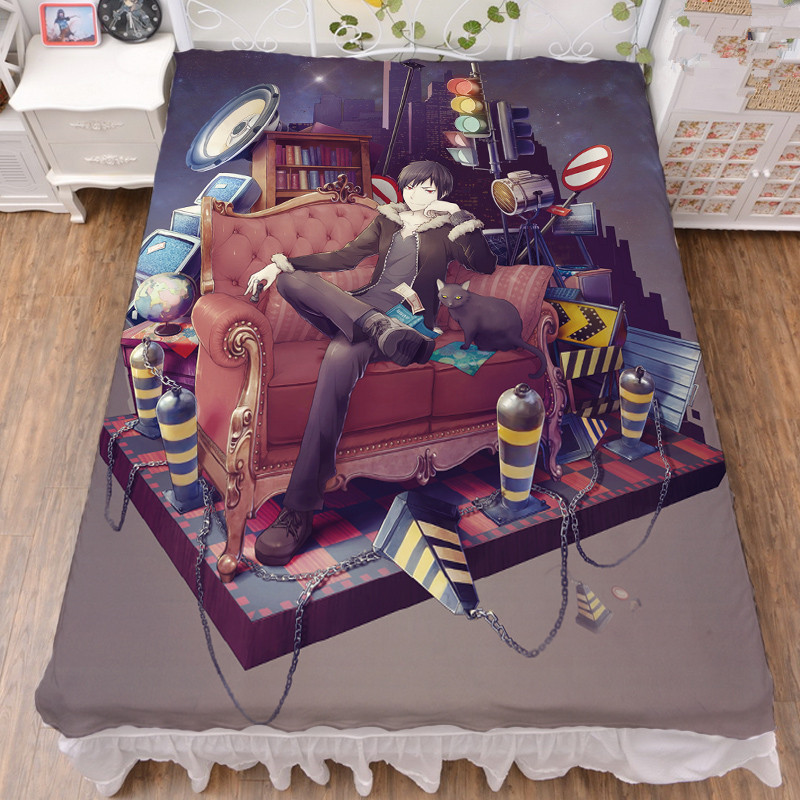 DuRaRaRa!! Anime Printed Bedsheets Throw Blankets Home Decorative Bedding Flat Sheet